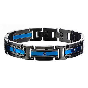 Herre Stainless Steel IP Blue Black Bracelet
