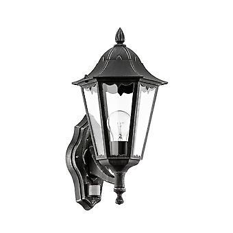 Eglo Navedo - 1 Lanterna de Parede Ao Ar Livre Leve com Sensor PIR Preto, Prata-Patina IP44 - EG93458