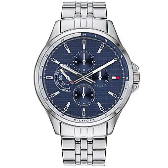 Tommy Hilfiger Watches 1791612 Men's Silver And Blue Multi Dial Stainless Steel Watch