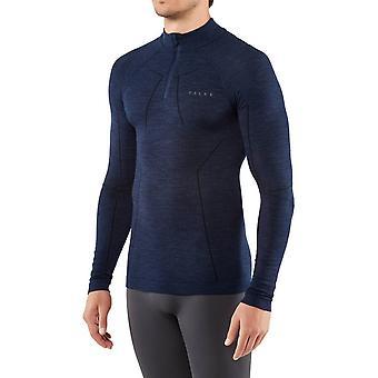 Falke langärmelige Wolle Reißverschluss Shirt - dunkle Nacht Marine