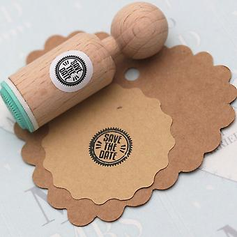 «Save the Date» Round Rubber Stamp - très MINI - mariage / timbre d'artisanat