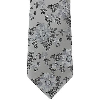 Michelsons Londyn kwiat kwiatowy Jedwabny krawat - srebrny