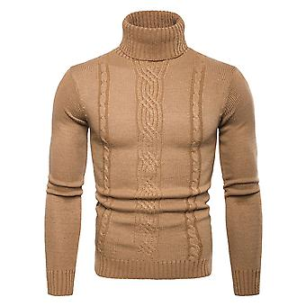 Cloudstyle Men's High Neck Solid Cotton Jacquard Weave Sweater