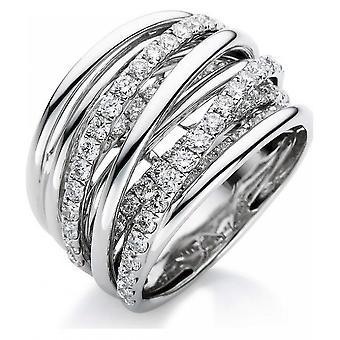 خاتم الماس - 18K 750/- الذهب الأبيض - 1.84 قيراط. مقاس 55