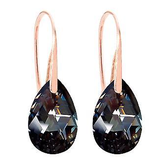Ah! Jewellery 16mm Silver Night Pear Crystals Fish Hook Earrings