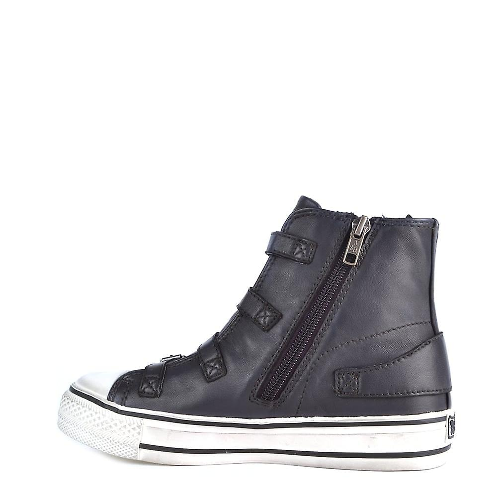 Ash Footwear Virgin Graphite Leather Buckle Trainers