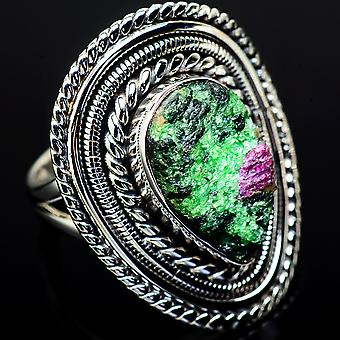Large Rough Ruby Zoisite Ring Size 7 (925 Sterling Silver)  - Handmade Boho Vintage Jewelry RING12055