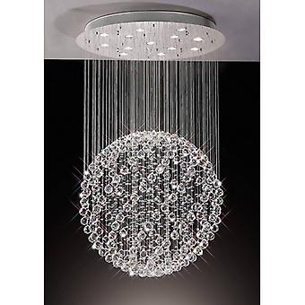 Colorado Large Sphère Pendentif Light 13 Ampoules Polis Chrome / Cristal
