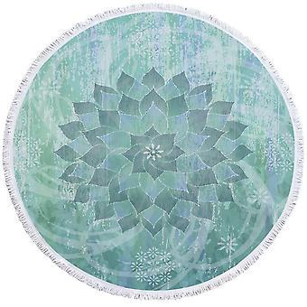 Teal sininen turkoosi Leaf Circle ranta pyyhe