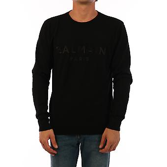 Balmain Uh13406k0070pa Men's Black Cashmere Sweater