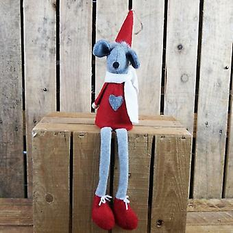 Large Long Legged Fabric Mouse Figure In Red Clothing