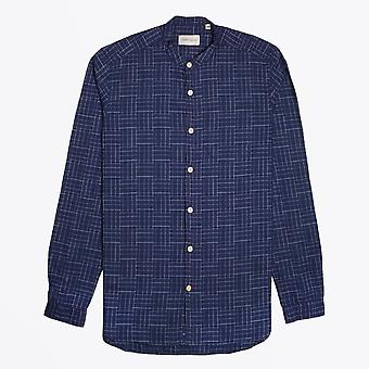 Oliver Spencer  - Grandad Checked Shirt - Navy