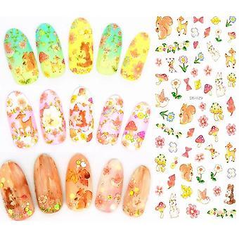 Elegantné Kvetinové Nechty Nail Art - Manikúra Vodné obtlačky Dekorácie Design