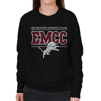 East Mississippi Community College Light Distressed Lion Logo Women's Sweatshirt