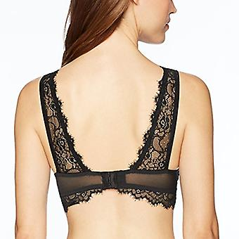Brand - Mae Women's Mesh Bralette with Eyelash Lace Overlay, Black, X-...