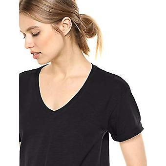 Brand - Daily Ritual Women's Lived-in Cotton Roll-Sleeve V-Neck T-Shirt Dress, Black, X-Small