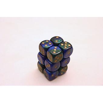 Chessex Gemini 16mm D6 x 12 - Blue/Green/Gold
