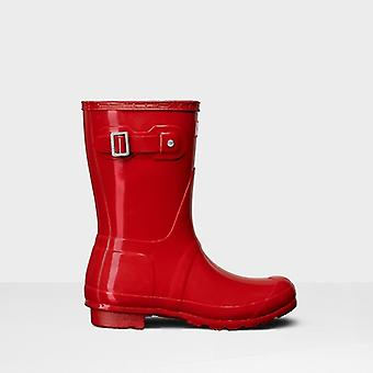 Hunter Original Short Gloss Ladies Rubber Wellington Boots Military Red