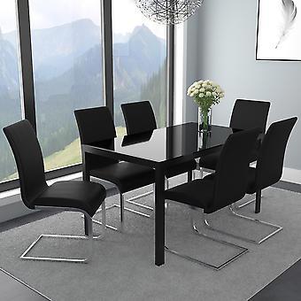 Autumn/Gracie 7Pc Dining Set - Black Table/Black Chair