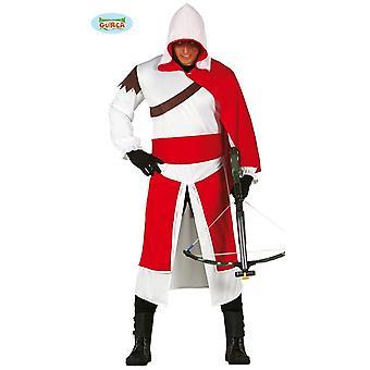 Traje de asesino Templarios para adultos edad media asesino mercenario de carnaval