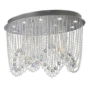 Plafond Ovale 12 Chrome Poli Léger, Cristal