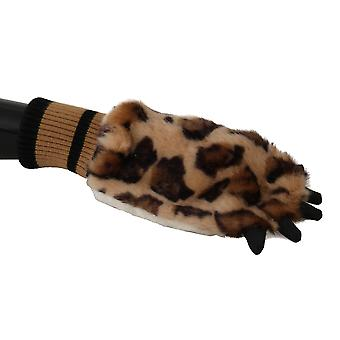 Dolce & Gabbana Brown Leopard Paw Fur Knitted Wrist Gloves