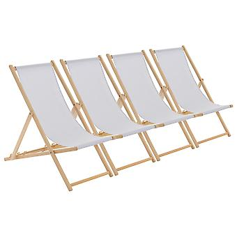 Wooden Deck Chair - Traditional Beach Style Adjustable Folding Chair - Light Grey - Pack of 4