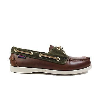 Sebago Trickey 711121W Tan Waxed/Suede Leather Mens Lace Up Moccasin Boat Shoes