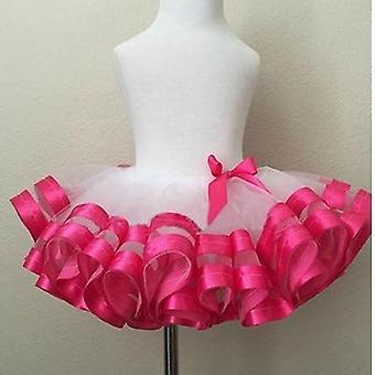 Jupes en mousseline de soie décontractées pour filles, jupe ruban rose et gris