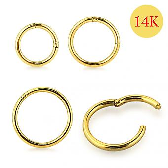 14K Solid Yellow Gold 9 mm Classic Hinged Segment Clicker Ring
