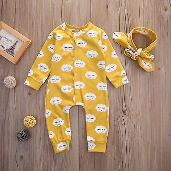 Nyfödda baby flicka rufsa cloud printing romper jumpsuit pyjamas lång ärm