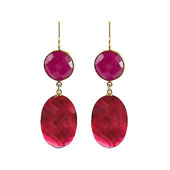 Gemshine boucles d'oreilles ovales de quartz rouge, rubis ronds pierres d'argent plaqué or 925