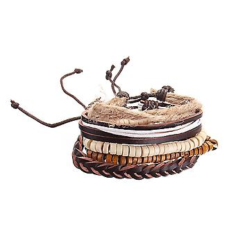 Állítható többrétegű vintage karkötő fa gyöngyös karperec fonott mandzsetta