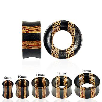 00 Gauge ( 10MM ) Double Flared Stripe Organic Iron and Palm Wood Gauge Tunnel Ear Plug