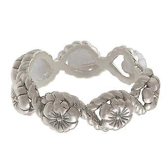 Olivia Burton Obj16fsr06 Floral Charm Rope Ring Silver