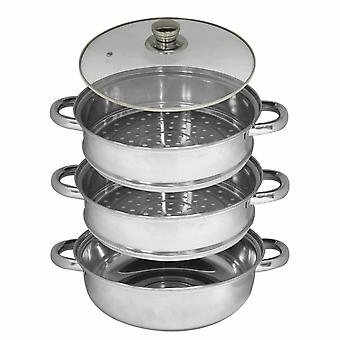 Kabalo 3 Tier Vegetable Steamer Stainless Steel Pan Set 25cm Pot Cooking Food Cookware with Glass Lid