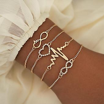 Ankle Bracelet Set, Boho Jewelry Bohemian Gold Chains, Infinity Double Heart