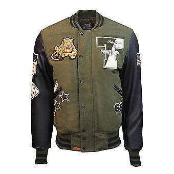 Top Gun Leopard Wool PU Bomber Jacket Green