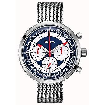 Bulova 96K101 Arquivo Azul & Prata Malha De Aço Inoxidável Cronógrafo Homens e relógio