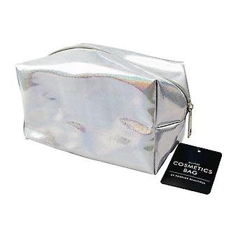 Glitter / Holographic Cosmetics Make Up Toiletry Wash Bag ~ Silver