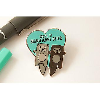 Otters Holding Hands Hard Enamel Pin