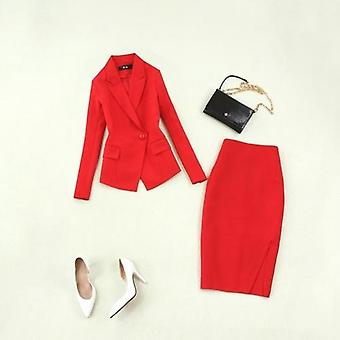 Autumn Large Size Red Long-sleeved Single Buckle Suit, Skirt  Two-piece