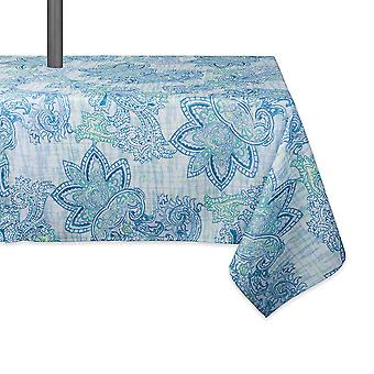 Dii Blue Watercolor Paisley Print Outdoor Tablecloth With Zipper