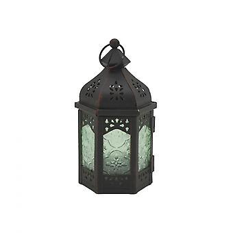 Rebecca Mobili Lanterne Portacandela Decorativa Vetro Metallo Verde Nero 17x9x8