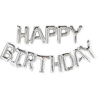 Auto gonflant joyeux anniversaire ballon ballon bunting argent 16 pouces lettres foil 1