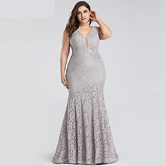 Women Elegant Mermaid Lace Sleeveless, V-neck, Long Party Gowns