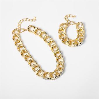 Hip Hop Přehnaný kubánský velký robustní řetízek náhrdelník & přívěsek, náramek,