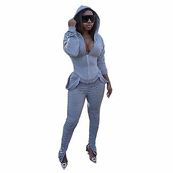 Women Casual Suits Long Sleeve - Zipper Hoodies