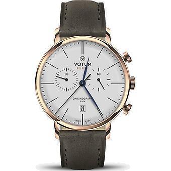 VOTUM - Reloj Unisex - CRONÓGRAFO VINTAGE - VINTAGE - V10.20.10.05 - correa de cuero - gris-marrón
