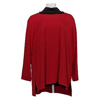 Susan Graver Women's Petite Top Set of 2 Tunics Red/Black A398714